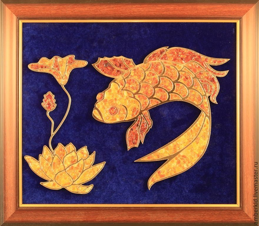 Lotus symbolizes spiritual opening, wisdom and a nirvana, and fish - fertility and abundance. This picture will become a fine gift for men and women, especially for those who are fond of East philosop