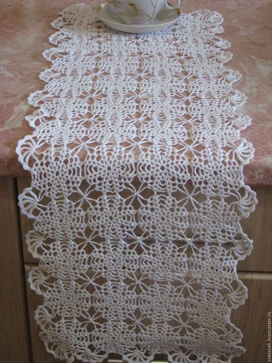 """Текстиль, ковры ручной работы. Ярмарка Мастеров - ручная работа. Купить Дорожка для стола """"Нежность"""". Handmade. Белый, крючок, уютный"""