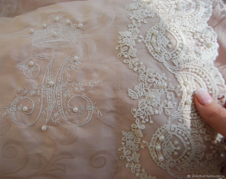Подарок на свадьбу. Постельное белье с кружевом жемчугом и вышивкой, Подарки, Самара,  Фото №1