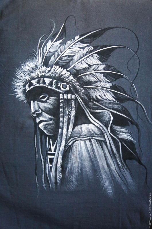 """Для мужчин, ручной работы. Ярмарка Мастеров - ручная работа. Купить Футболка с рукавом """"Индейский шаман"""". Handmade. Чёрно-белый"""
