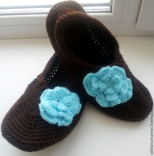 """Обувь ручной работы. Ярмарка Мастеров - ручная работа. Купить тапочки женские """"голубая магнолия"""". Handmade. Коричневый, тапочки домашние"""