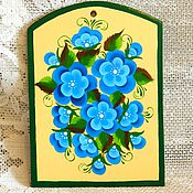 """Для дома и интерьера ручной работы. Ярмарка Мастеров - ручная работа разделочная доска """"нежно-голубые цветы"""". Handmade."""