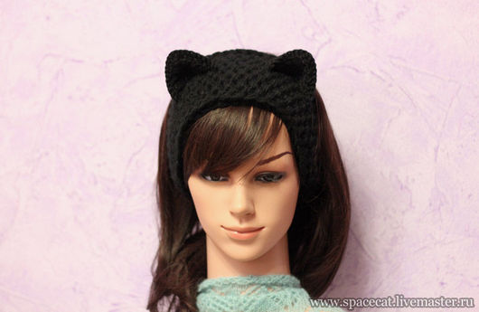 повязка на голову, повязка для волос, повязка вязаная, повязка с кошачьими ушами, повязка кошка, повязка на осень, повязка на весну, вязаная повязка с ушками, повязка для волос вязанная