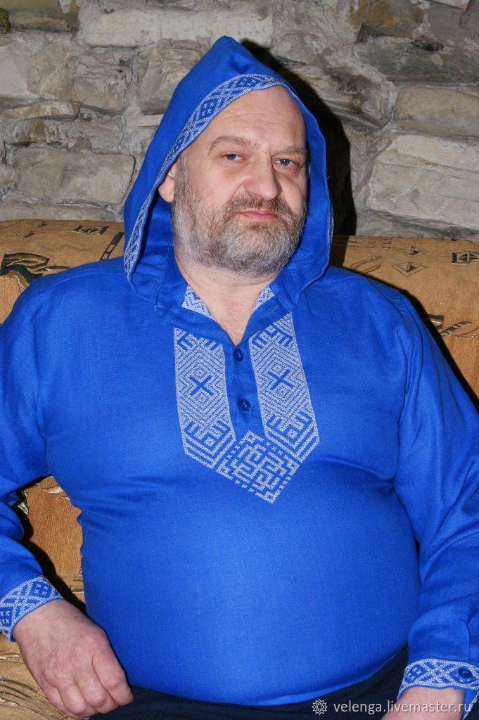 Рубашка из льна с капюшоном с обережной вышивкой Гармония, Одежда, Геленджик, Фото №1