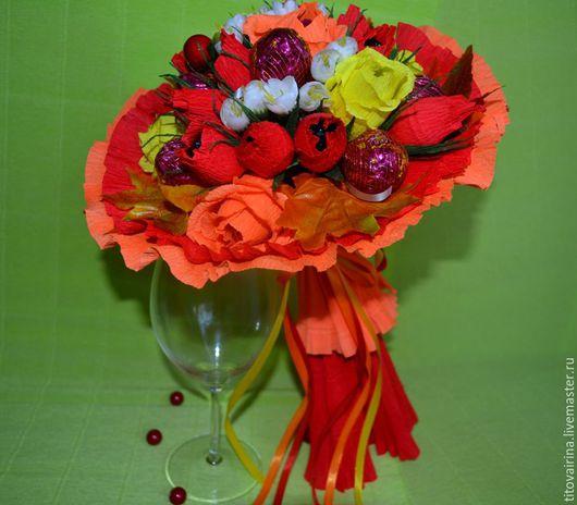 """Букеты ручной работы. Ярмарка Мастеров - ручная работа. Купить Букет из конфет """"Осеннее танго"""". Handmade. Рыжий, букет из конфет"""