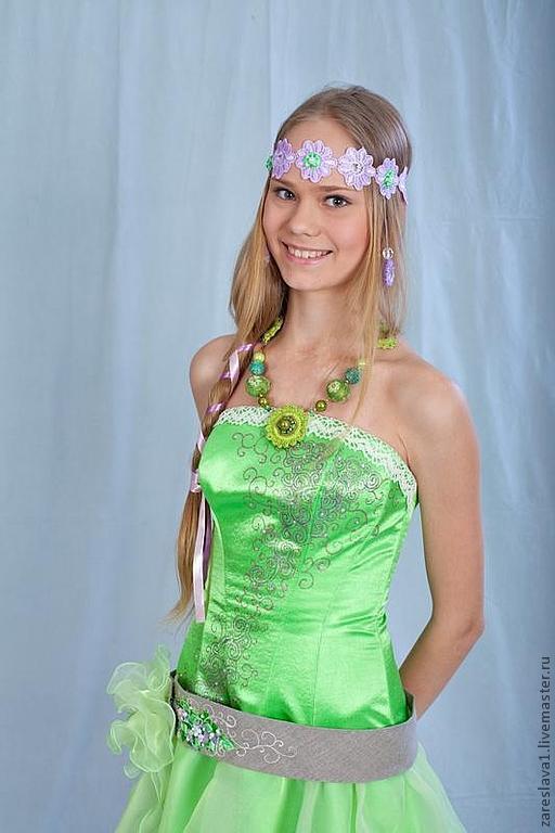 """Корсеты ручной работы. Ярмарка Мастеров - ручная работа. Купить Платье для выпускного """"Ежевика Зеленое"""". Handmade. Ярко-зелёный"""
