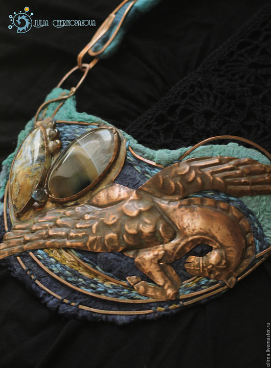 """Колье, бусы ручной работы. Ярмарка Мастеров - ручная работа. Купить """"Pegasus Decorus"""" колье. Handmade. Медные украшения, греческий"""