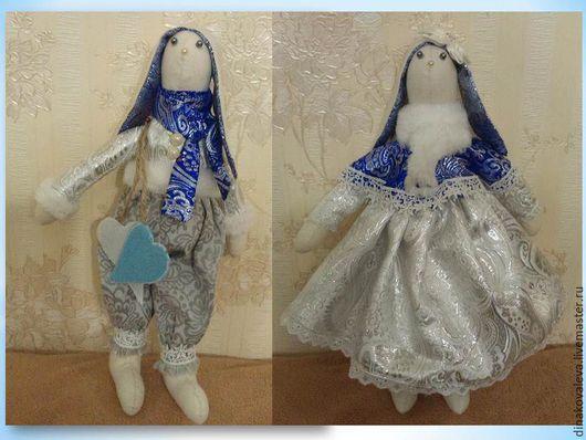 Куклы Тильды ручной работы. Ярмарка Мастеров - ручная работа. Купить Зимние зайцы Тильды- пара. Handmade. Синий, зайчики