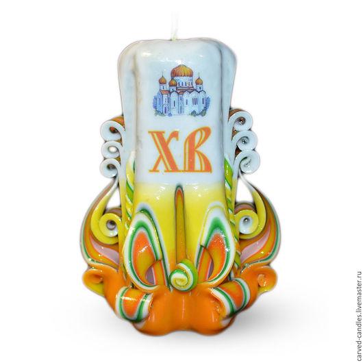 """Свечи ручной работы. Ярмарка Мастеров - ручная работа. Купить Резная свеча.""""Пасха"""".. Handmade. Свеча резная, Свечи, желтый"""