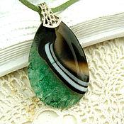 Украшения handmade. Livemaster - original item Black and green agate pendant with Druze two colors drop. Handmade.