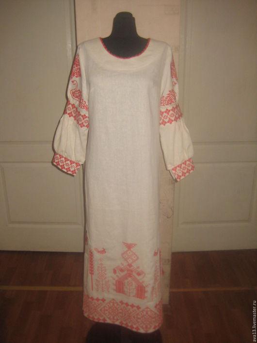 Платья ручной работы. Ярмарка Мастеров - ручная работа. Купить Платье из льна. Handmade. Белый, славянские мотивы, лён
