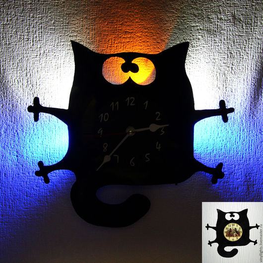 Часы для дома ручной работы. Ярмарка Мастеров - ручная работа. Купить Часы настенные с подсветкой из виниловой пластинки Котейка2. Handmade.