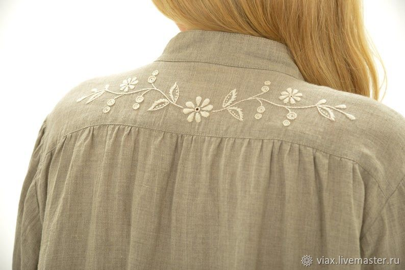 Chemise: Nightgown 'Linen with embroidery», Nightdress, Rostov-on-Don,  Фото №1