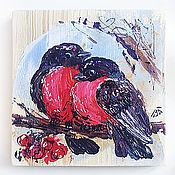 Картины и панно ручной работы. Ярмарка Мастеров - ручная работа Парочка снегирей, декоративное деревянное панно. Handmade.