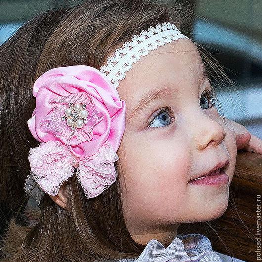 """Повязки ручной работы. Ярмарка Мастеров - ручная работа. Купить Повязка  на голову """"Princess"""". Handmade. Бледно-розовый, повязка для девочки"""