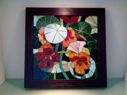 """Картины цветов ручной работы. Ярмарка Мастеров - ручная работа. Купить Мозаика """"Настурция"""". Handmade. Тёмно-зелёный, настурция"""