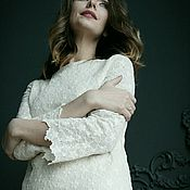 """Одежда ручной работы. Ярмарка Мастеров - ручная работа Кружевное платье А-силуэта """"Топленое молоко"""". Handmade."""
