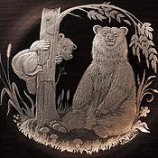Посуда handmade. Livemaster - original item gift plate bears engraved glass. Handmade.