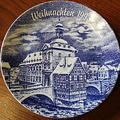 Винтаж handmade. Livemaster - original item Collector`s Christmas plate, porcelain, Germany. Handmade.