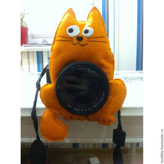 Аксессуары для фотосессий ручной работы. Ярмарка Мастеров - ручная работа. Купить Игрушка на объектив - Объективный кот. Handmade. Рыжий, котик