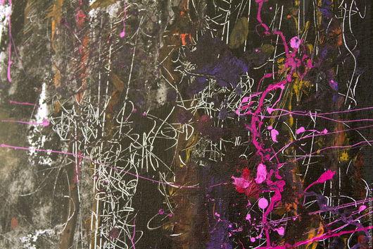 """Абстракция ручной работы. Ярмарка Мастеров - ручная работа. Купить Абстрактная картина """"Ночь"""". Handmade. Черный, линия, паутина, смех"""