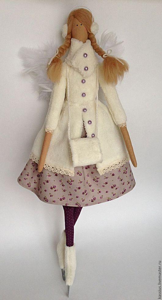 Куклы Тильды ручной работы. Ярмарка Мастеров - ручная работа. Купить Зимний ангел на коньках (Интерьерная кукла тильда). Handmade.