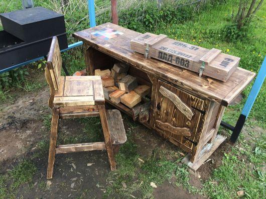"""Мебель ручной работы. Ярмарка Мастеров - ручная работа. Купить Стол """"У мангала"""". Handmade. Стол, мангал, дрова, дерево"""