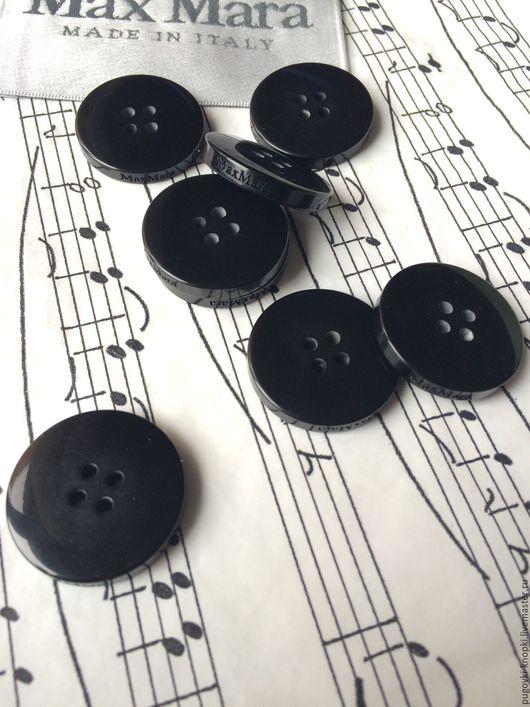 Шитье ручной работы. Ярмарка Мастеров - ручная работа. Купить Пуговица Max Mara оригинал 25мм черная. Handmade. пластик