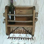 Полки ручной работы. Ярмарка Мастеров - ручная работа Полка для вина и бокалов в деревенском стиле. Handmade.