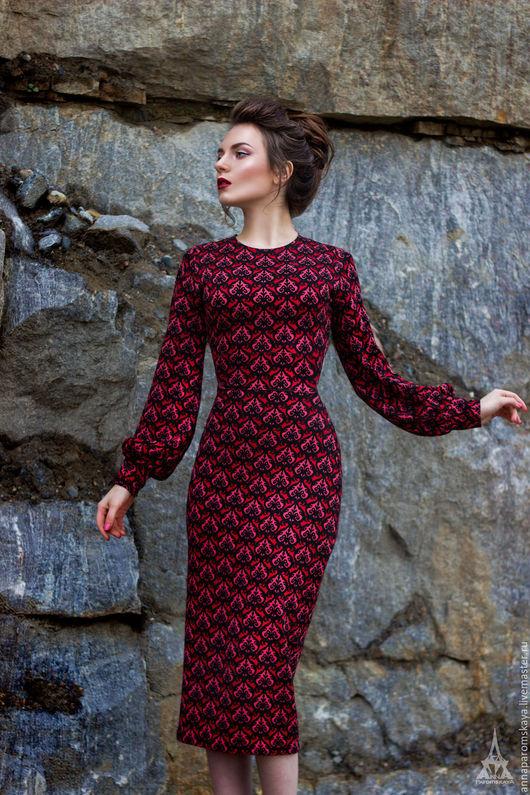 Платья ручной работы. Ярмарка Мастеров - ручная работа. Купить Платье из джерси. Handmade. Комбинированный, теплое платье, джерси