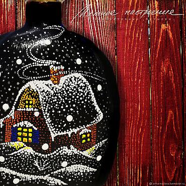 Посуда ручной работы. Ярмарка Мастеров - ручная работа Зимняя ночь, новый год, зима, бутылка черный бордовый. Handmade.