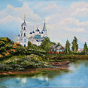 Картины и панно handmade. Livemaster - original item Oil painting of Temple on the river Charity auction. Handmade.