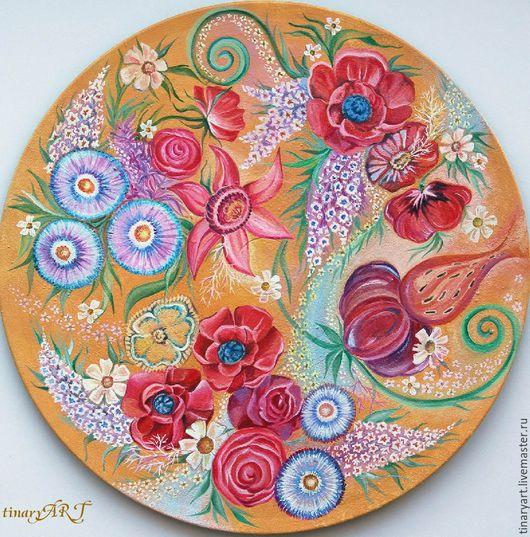 Декоративное панно на виниловой основе Знойное лето, расписанное акриловыми красками