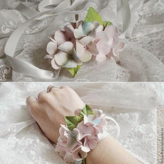 Свадебные украшения ручной работы. Ярмарка Мастеров - ручная работа. Купить Браслет для невесты и её подружек. Handmade. Бледно-розовый