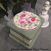 Для дома и интерьера ручной работы. Ярмарка Мастеров - ручная работа шкатулка для украшений Розы хранение коробочка декупаж. Handmade.
