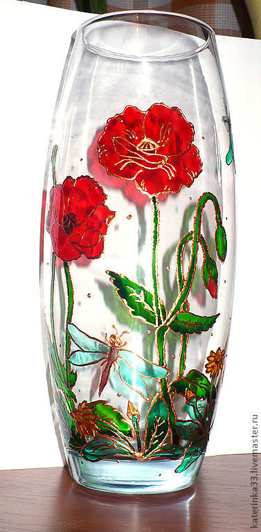 """Вазы ручной работы. Ярмарка Мастеров - ручная работа. Купить Ваза """"Летним днём"""". Handmade. Ярко-красный, маки, ваза"""