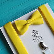 Аксессуары handmade. Livemaster - original item Butterfly Sunny suspenders / bow tie bright yellow, yellow suspenders. Handmade.