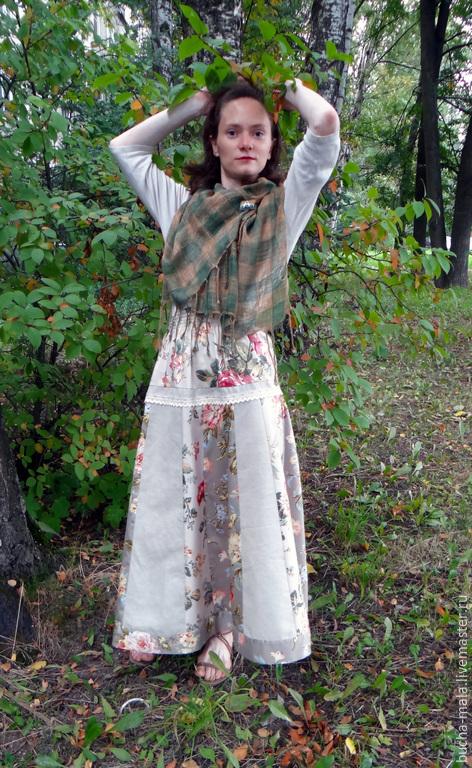 """Юбки ручной работы. Ярмарка Мастеров - ручная работа. Купить Бохо-юбка """"Чайные розы"""". Handmade. Бежевый, длинная юбка"""