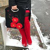 Обувь ручной работы. Ярмарка Мастеров - ручная работа Сапожки и сумка шерстяные Маки. Handmade.