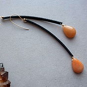 Украшения handmade. Livemaster - original item Long earrings with apricot jade. Handmade.