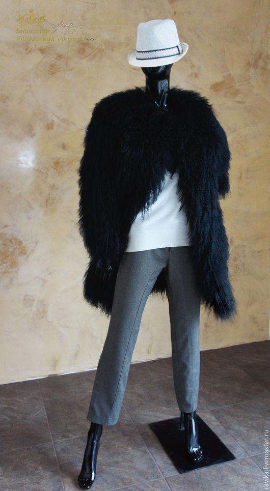 Верхняя одежда ручной работы. Ярмарка Мастеров - ручная работа. Купить Шубка из ламы цельная черная. Handmade. Лама