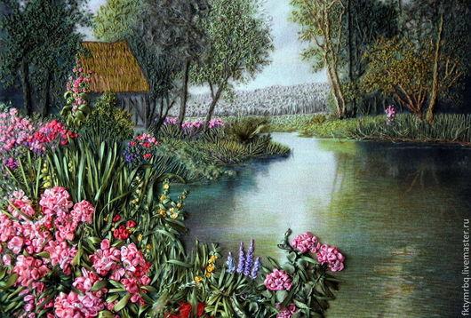 Пейзаж ручной работы. Ярмарка Мастеров - ручная работа. Купить Картина  Тихая речка. Вышивка лентами.. Handmade. Разноцветный, пейзаж