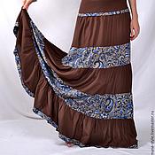 Одежда ручной работы. Ярмарка Мастеров - ручная работа Коричневая юбка со вставкой (вискоза+штапель). Handmade.