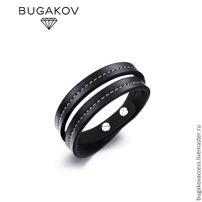 Bracelet in 2 turns of leather and steel unisex classic, Bead bracelet, Moscow,  Фото №1