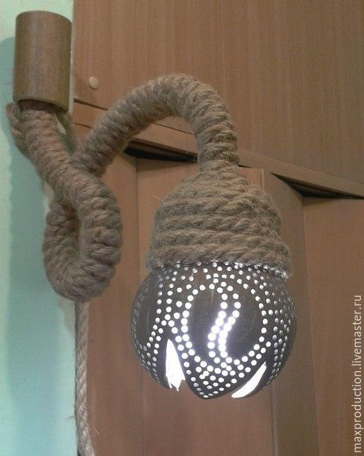 Освещение ручной работы. Ярмарка Мастеров - ручная работа. Купить Светильник ночник из кокоса. Handmade. Коричневый, батарейки, материки, диод