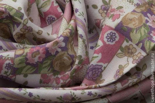 """Шитье ручной работы. Ярмарка Мастеров - ручная работа. Купить Тонкий хлопок """"Пэчворк"""" ( розовый). Handmade. Комбинированный, цветы"""