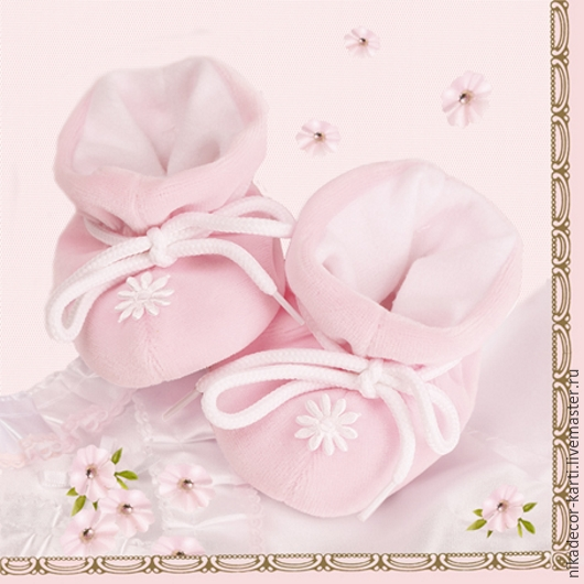 Декупаж и роспись ручной работы. Ярмарка Мастеров - ручная работа. Купить Пинетки, розовый (SLCH000401) - салфетка для декупажа. Handmade. Разноцветный