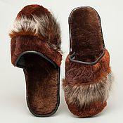 Обувь ручной работы. Ярмарка Мастеров - ручная работа Меховые тапочки «Бобровые». Handmade.