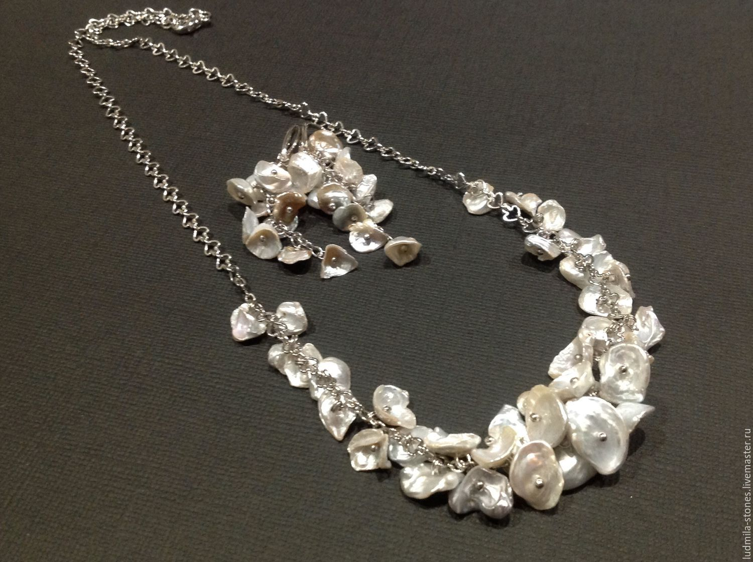 A necklace of pearls keisha 'Silver magic', Necklace, Moscow,  Фото №1