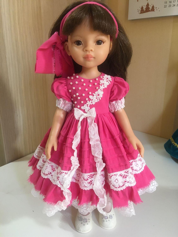 Paola Reina ярко-розовое штапельное платье, Одежда для кукол, Обнинск,  Фото №1